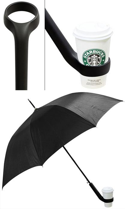 Зонтик с держателем для кофе.