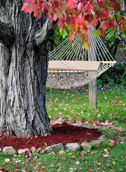 Уютный гамак в саду.
