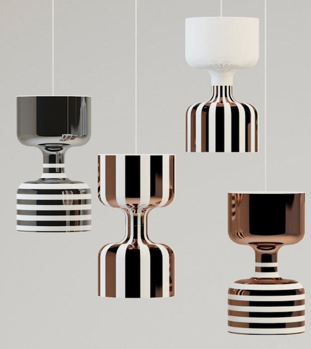 Полосатые керамические светильники.
