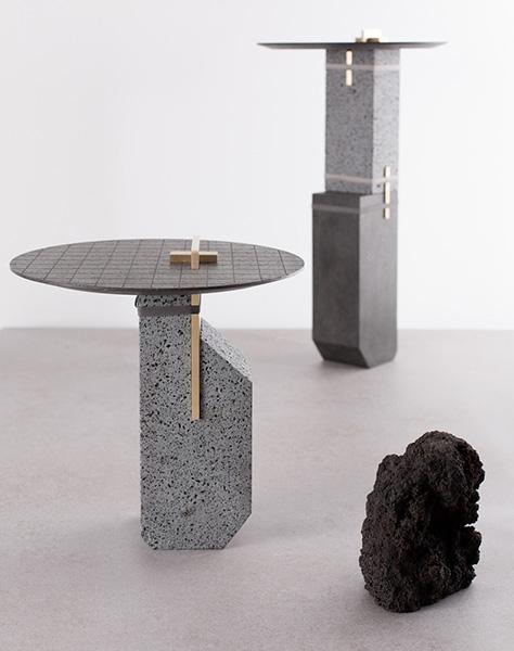 Предметы мебели, созданные из лавы.