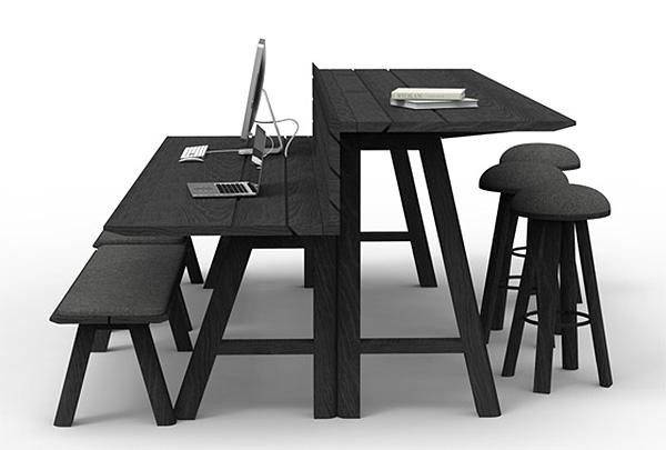 Офисные столы, вдохновленные столиками для барбекю.
