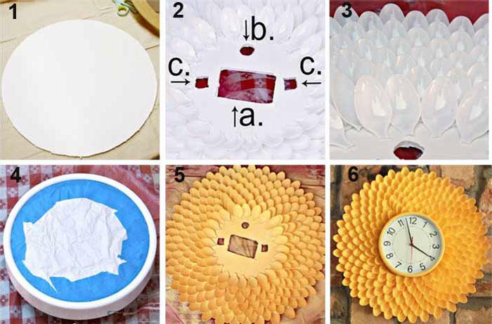 Как сделать часы из пластиковых ложек.