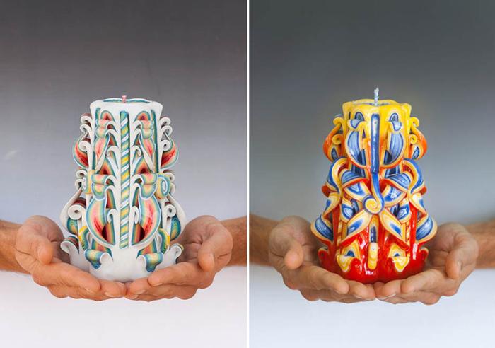 Потрясающие свечи, вырезанные вручную.