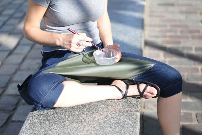 Необычные брюки для перекусов на улице.