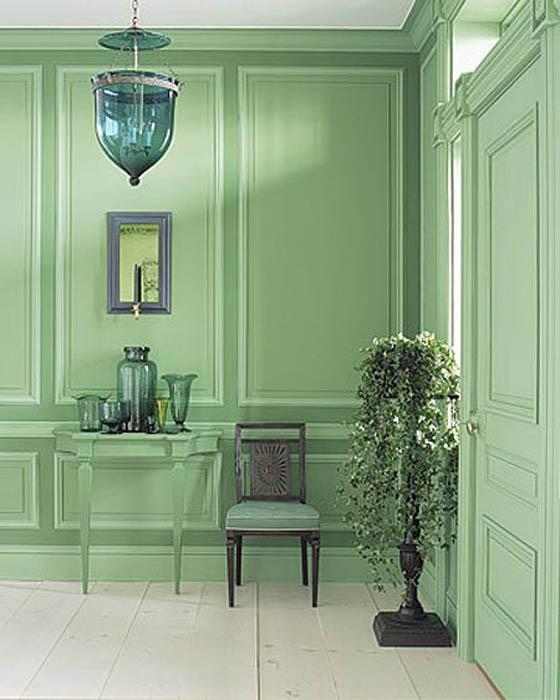 Свежий зеленый цвет для отделки стен.
