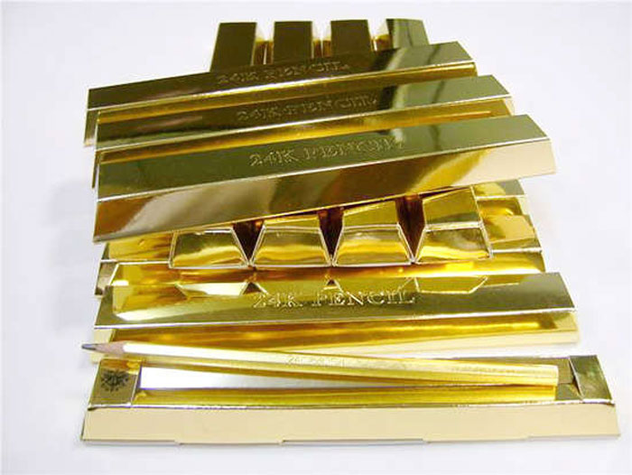 Карандаши с золотым покрытием.