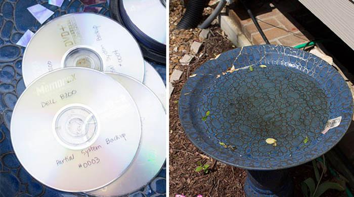 Тарелка, декорированная обрезками дисков.