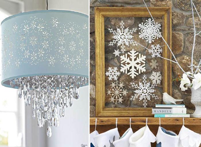 10 предметов с декором в виде снежинок.