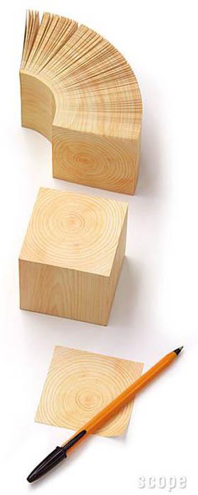 Стикеры в виде деревянного блока.