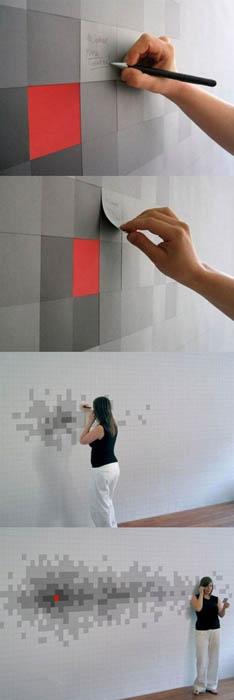 Стикеры на стенах.