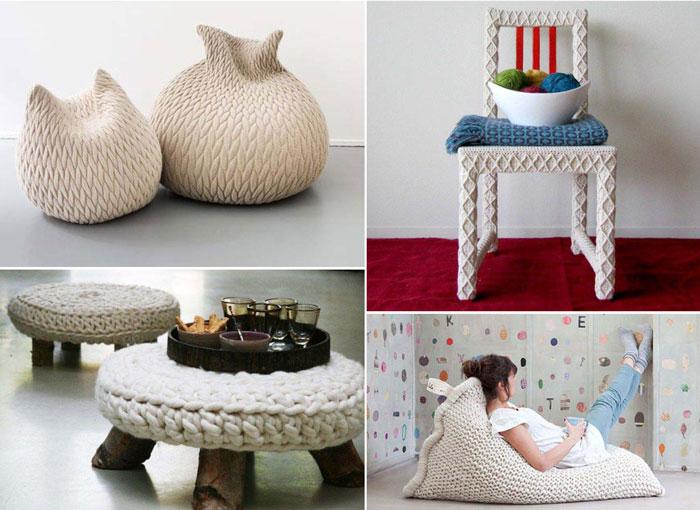 10 вязаных предметов мебели.