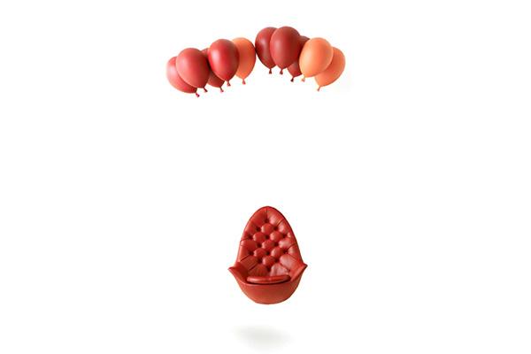Кресло, парящее на воздушных шарах.