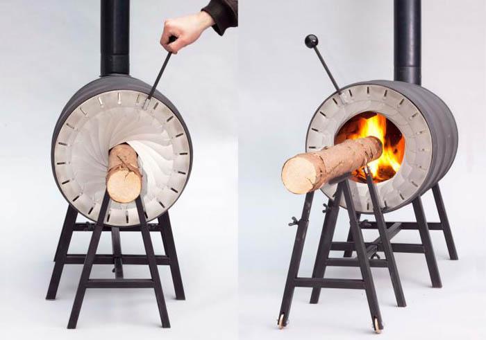 Печь, которая топится целым бревном.