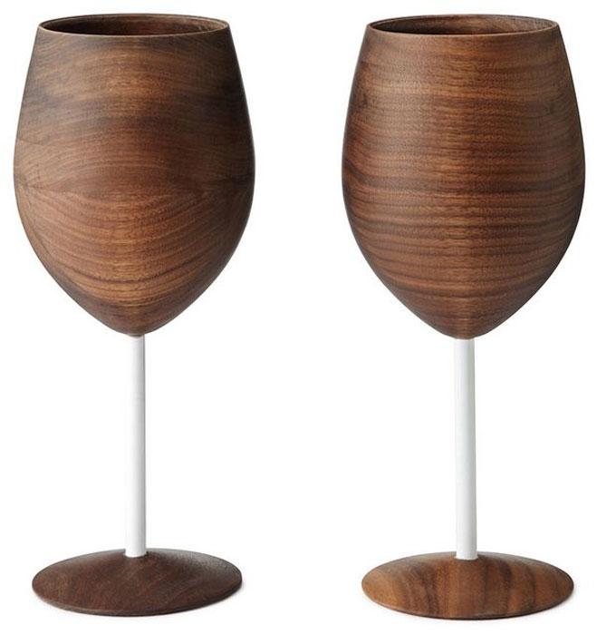 Стильные деревянные бокалы.