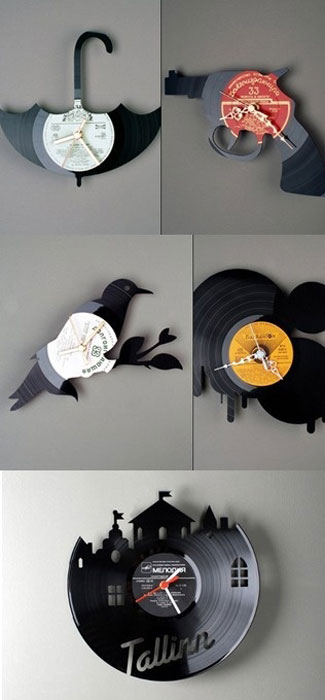 Часы, сделанные из виниловых пластинок.