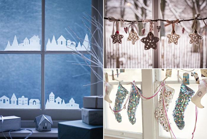 10 способов украсить окна к Новому году.
