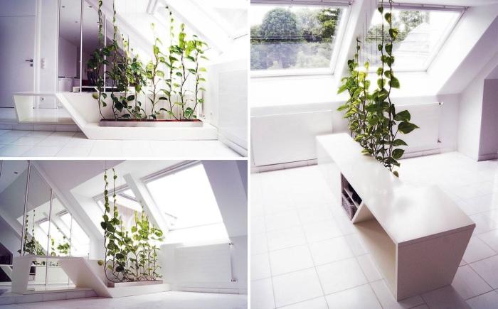 Перегородка в виде полок с растениями.