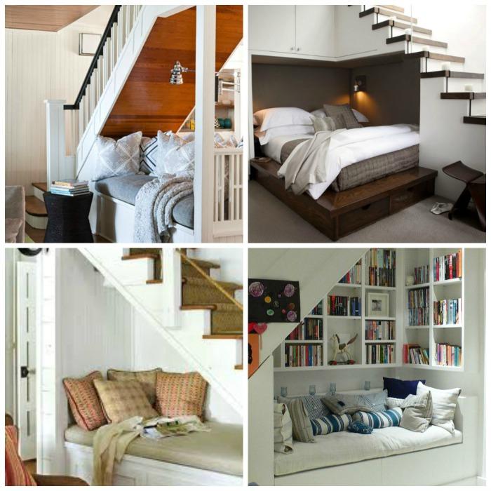 Уютное местечко для отдыха под лестницей.