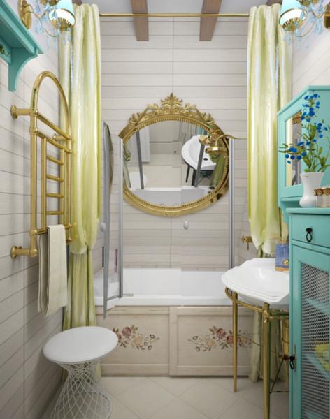 Уютный интерьер ванной комнаты в стиле прованс.