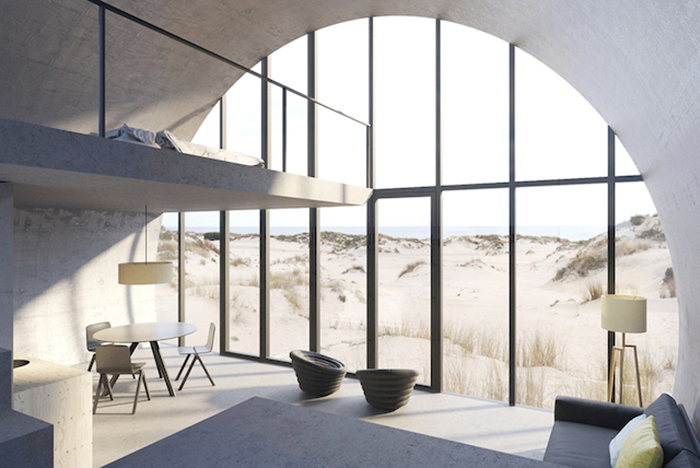 Цилиндрический дом: вид изнутри.