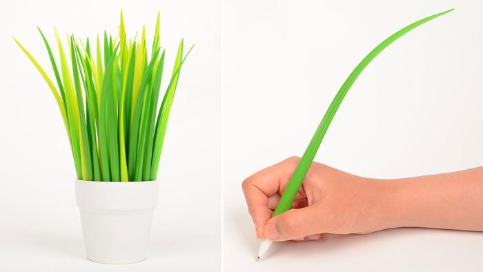 Ручка в виде травинки.
