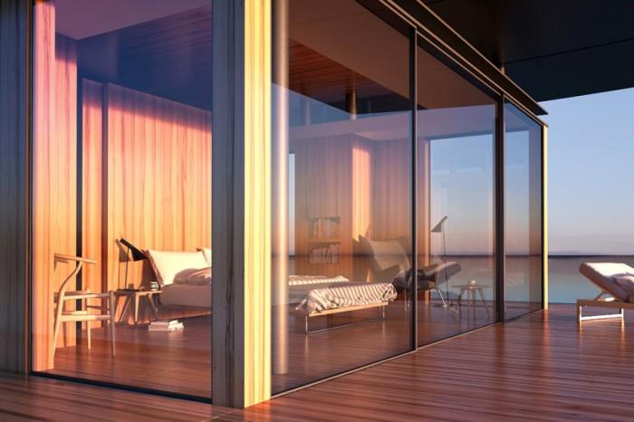 Роскошный современный дом на воде.
