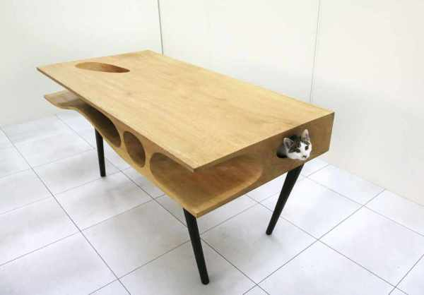 Необычный стол с тоннелем для кошек от Ruan Hao.