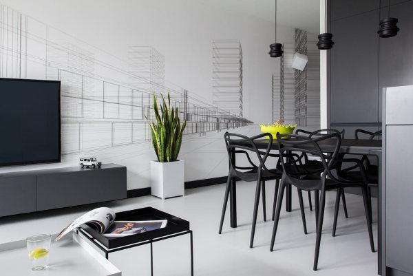 Черно-белый дизайн квартиры от дизайн-студии KASIA ORWAT.