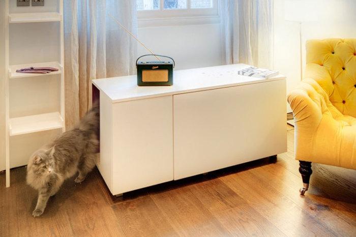 Тумбочка с проходом для домашнего питомца от elipsdesign.com.