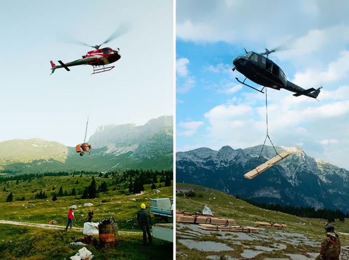 Строительные материалы для возведения постройки пришлось доставлять на вертолете.