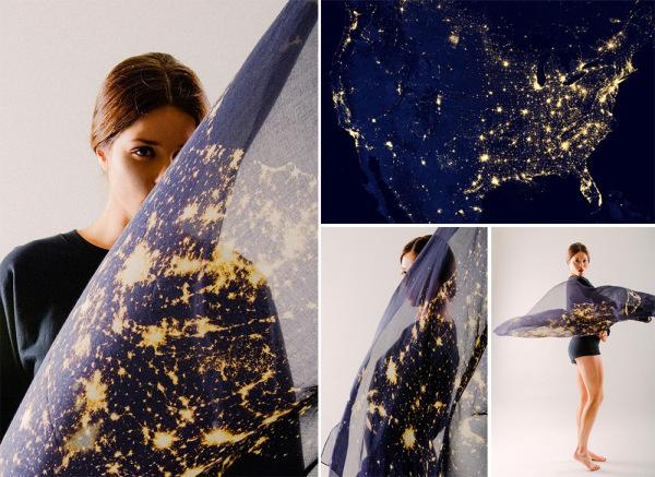 Элегантные полупрозрачные платки, усыпанные звездами ночного неба.