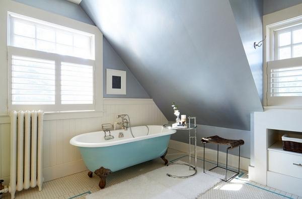 Оттенки голубого в дизайне ванной.