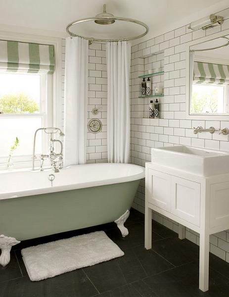 Нежный оливковый цвет в современном интерьере ванной комнаты.