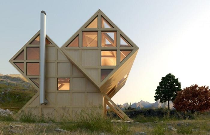 Valley House - загородный дом в виде геометрических кубов.