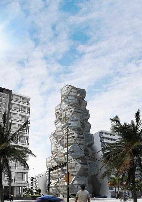Здание в виде нагромождения многогранников.
