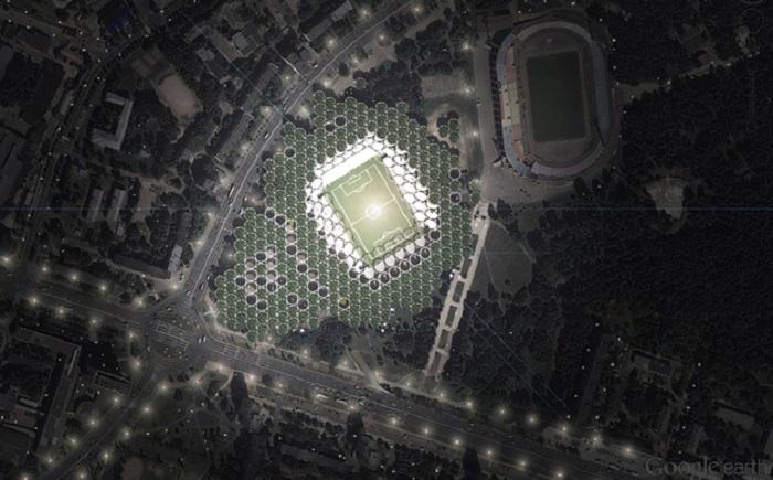 Стадион в Минске. Вид сверху.