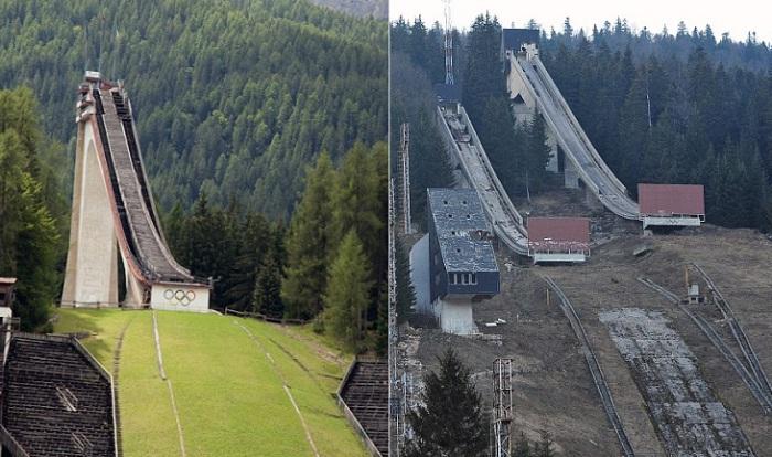 Лыжный трамплин на горе Требевич до войны и после.