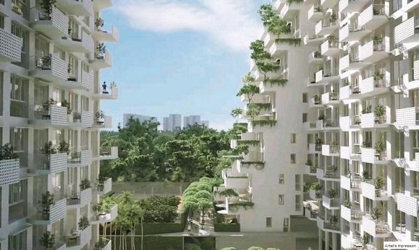 Зеленые насаждения на этажах жилого комплекса.