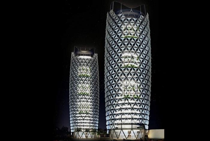 «Al-Bahr Towers» - светодиодная подсветка башен.