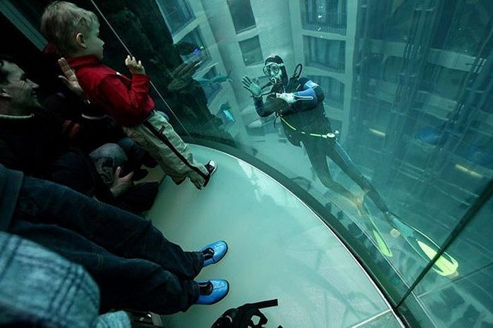 Пассажирский лифт внутри аквариума.