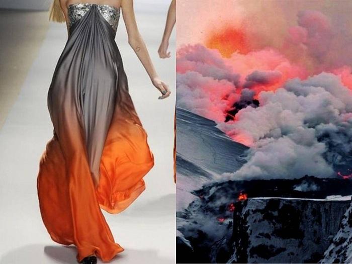 Платье от дизайнера NAEEM KHAN подобно извержению исландского вулкана Эйяфьятлайокудль.