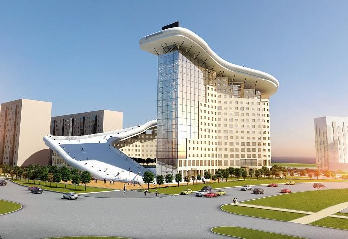 Концепт жилого комплекса с горнолыжным спуском на крыше от казахского архитектора Шохана Матайбекова.