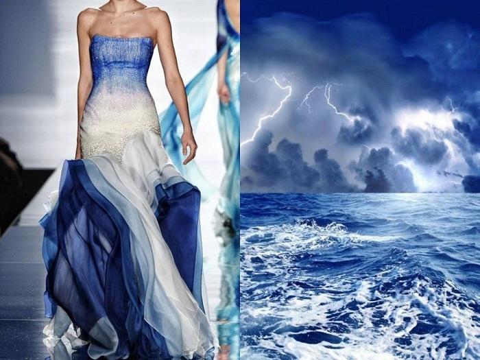 Будто шторм на море воплотился в этой модели платья.