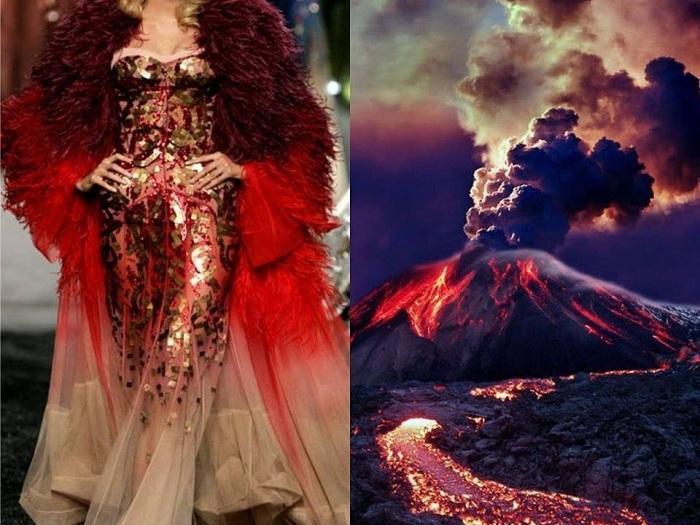 Женщина в этом роскошном платье становится подобно извержению вулкана.