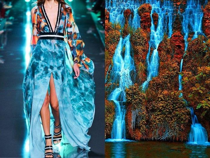 Платье дизайнера Elie Saab сравнимо с тропическим водопадом.