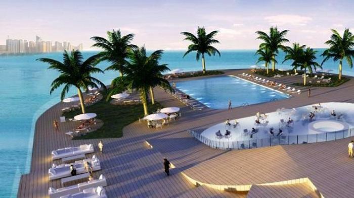 Прозрачный бассейн на крыше отеля Helix.