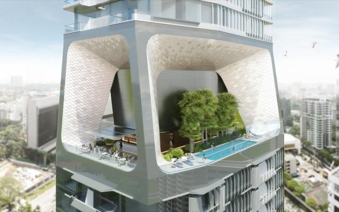 В башне «Scotts Tower» будет оборудовано несколько бассейнов на верхних этажах.