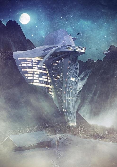 Потрясающий концепт футуристического отеля.