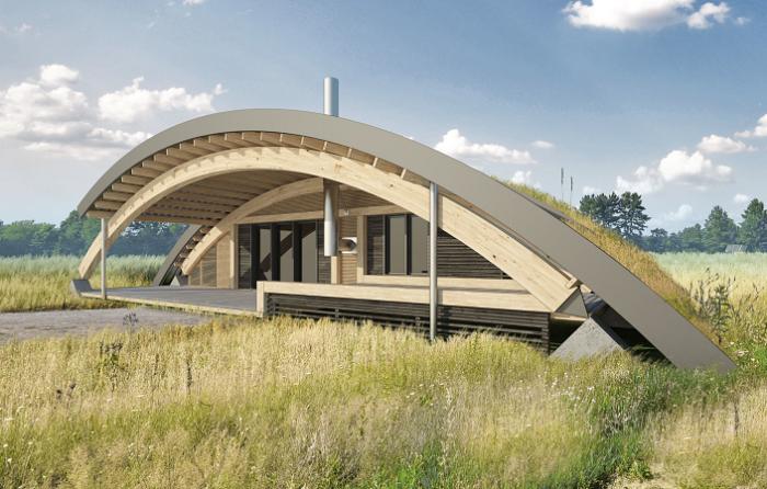 Проект оригинального загородного дома с «зеленой» крышей.