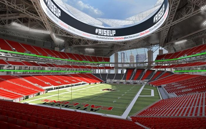 Atlanta Falcons stadium - вид изнутри.